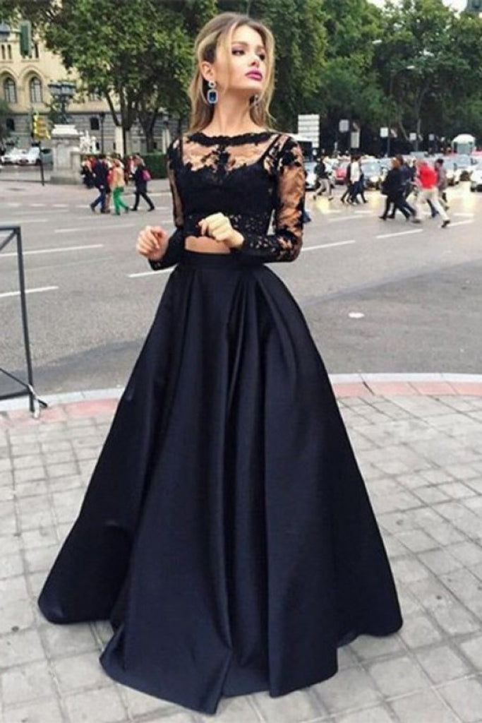 2019 Black Ball Gown Long Sleeves Bateau Satin Floor-Length Dresses