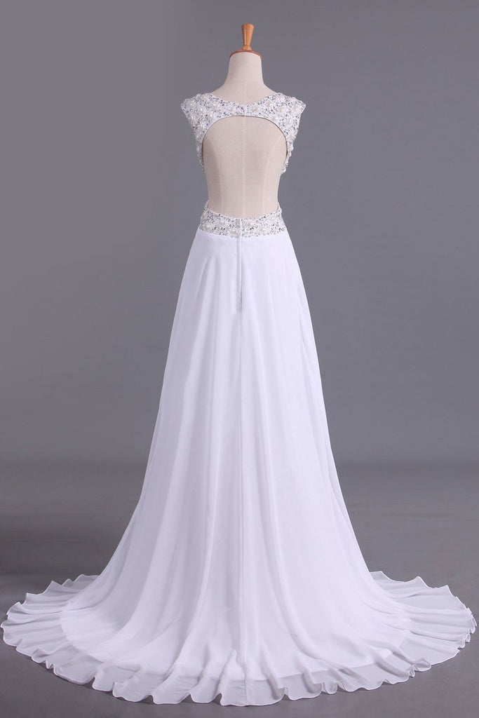 2019 White V-Neck Prom Dresses A Line Chiffon With Beading