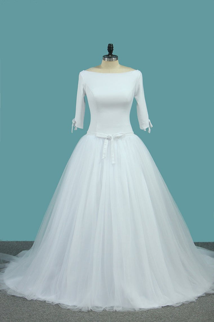 2019 Mid-Length Sleeves Scoop A Line Wedding Dresses Tulle Chapel Train