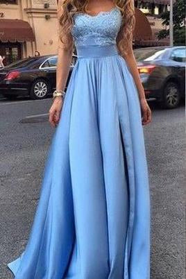 Sexy Cheap Appliques Long Blue Charming Sweetheart A-Line Floor-Length Prom Dresses JS225