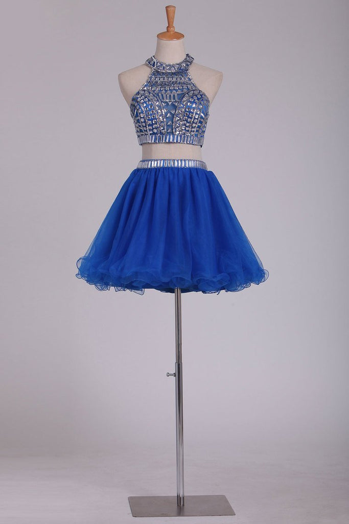 Two Pieces Short/Mini Scoop A Line With Beading Homecoming Dresses