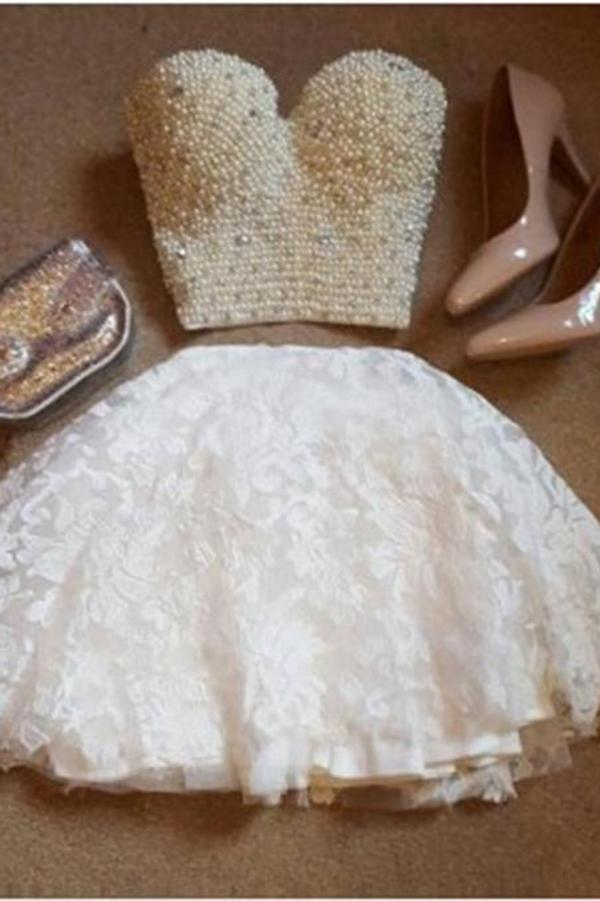 A-Line Two Pieces Sweetheart Short White Lace Knee Length Homecoming Dress with Pearls JS704