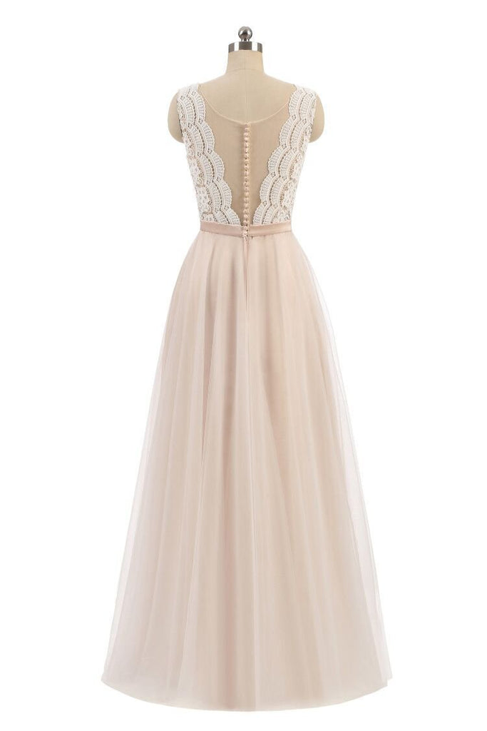 Elegant A Line Pink Tulle Lace High Neck Sleeveless Button Prom Evening Dresses JS598