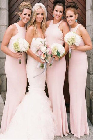 Cheap Elegant Long A-Line Halter Pink Satin Mermaid Bridesmaid Dresses SSM15