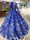 Ball Gown Blue Round Neck Prom Dresses with Beads Lace up Quinceanera Dresses JS784