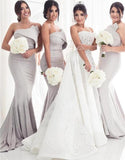 Strapless Silver Mermaid Elegant Long Sleeveless Prom Dresses Bridesmaid Dresses JS64
