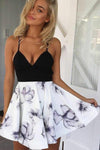 A-Line Black Spaghetti Straps White Floral Polyester V Neck Satin Homecoming Dresses JS705
