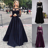 Black two pieces long sleeve prom dress A-line lace two pieces long prom dress grad dresses JS104