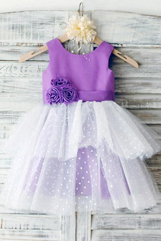 Ball Gown Ivory Scoop Neck Satin Purple Tulle Ankle-length Tiered Child Flower Girl Dresses JS736