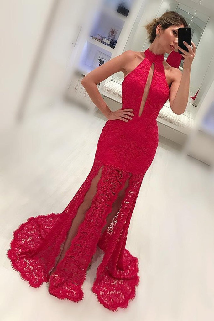 2019 High Neck Lace Mermaid Prom Dresses With Slit Sweep Train