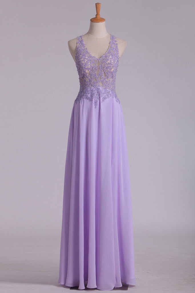 Sexy Open Back See-Through Prom Dresses V Neck Chiffon With Beads And Applique