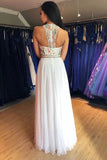 Unique A Line Colorful Beads Chiffon White Formal Dresses, Prom Evening Dresses SSM15539