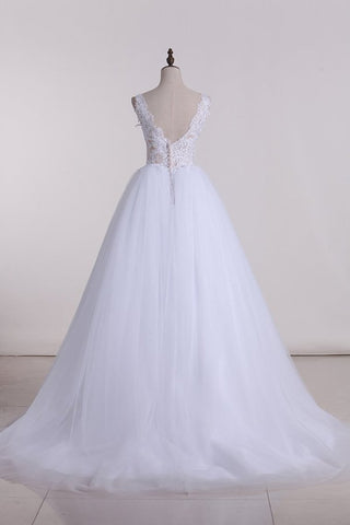2020 V Neck With Applique Wedding Dresses Tulle A Line SSMPMCZ4NRL
