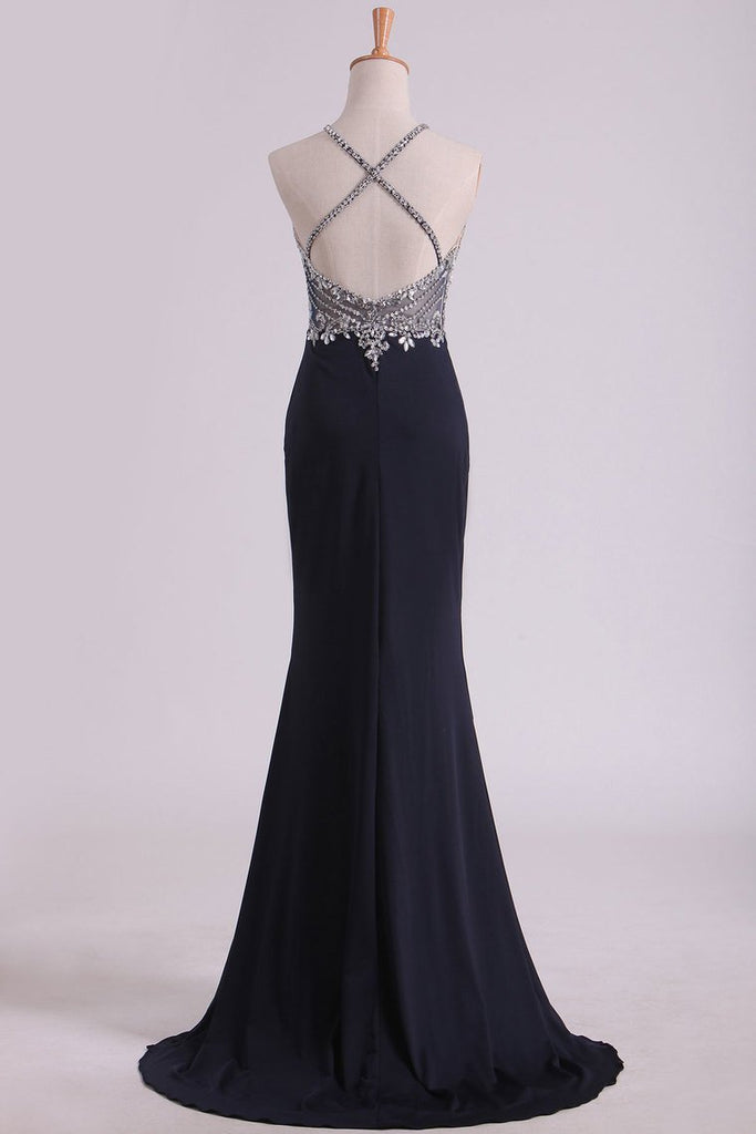 2019 Sexy Open Back Spaghetti Straps Beaded Bodiced Prom Dresses Mermaid