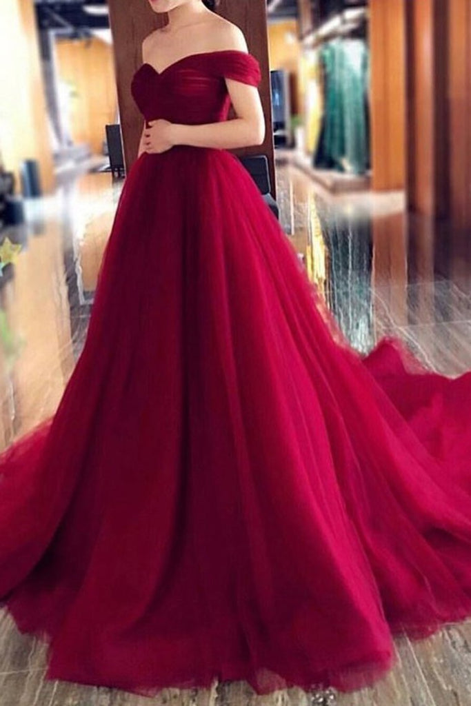 2021 Off The Shoulder Tulle A Line Prom Dresses With Ruffles