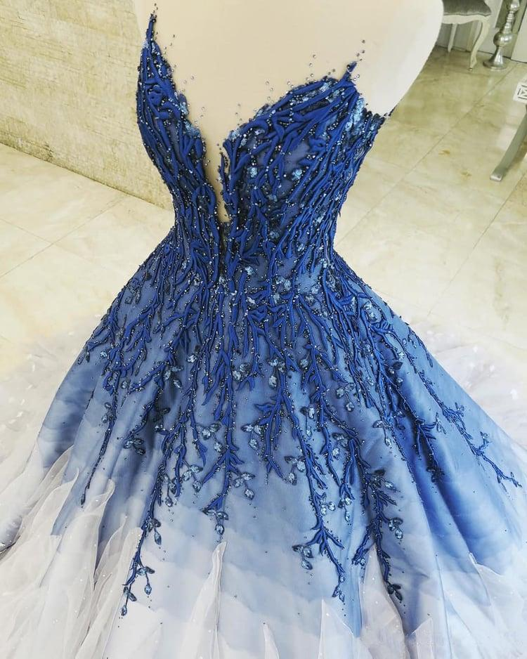 Ombre Ball Gown Royal Blue Prom Dresses With Appliques, Long V Neck Quinceanera Dresses SSM15275