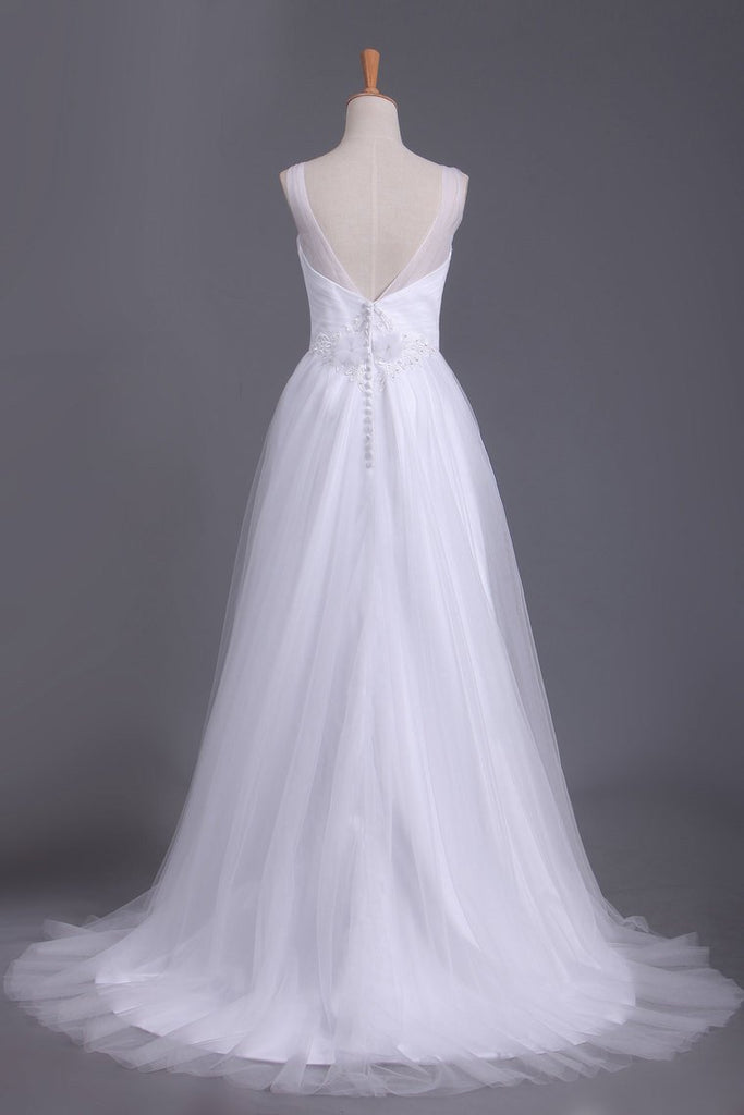 2021 A Line V Neck Open Back Wedding Dresses Tulle With Ruffles And Handmade Flowers