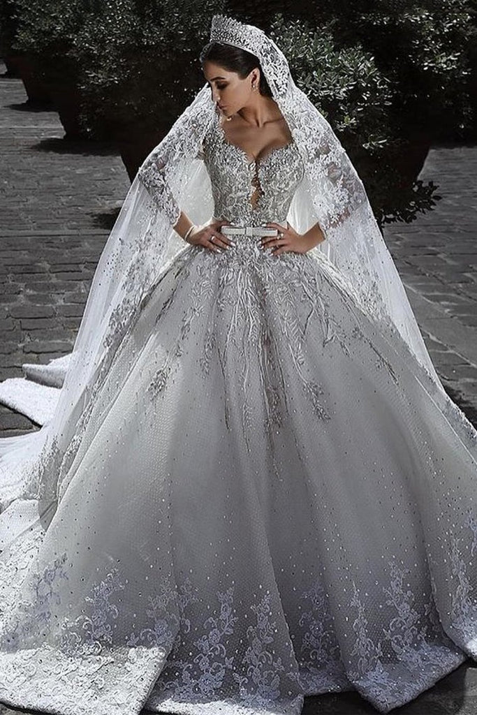 2019 Long Sleeves A Line Wedding Dresses Tulle With Applique And Sash