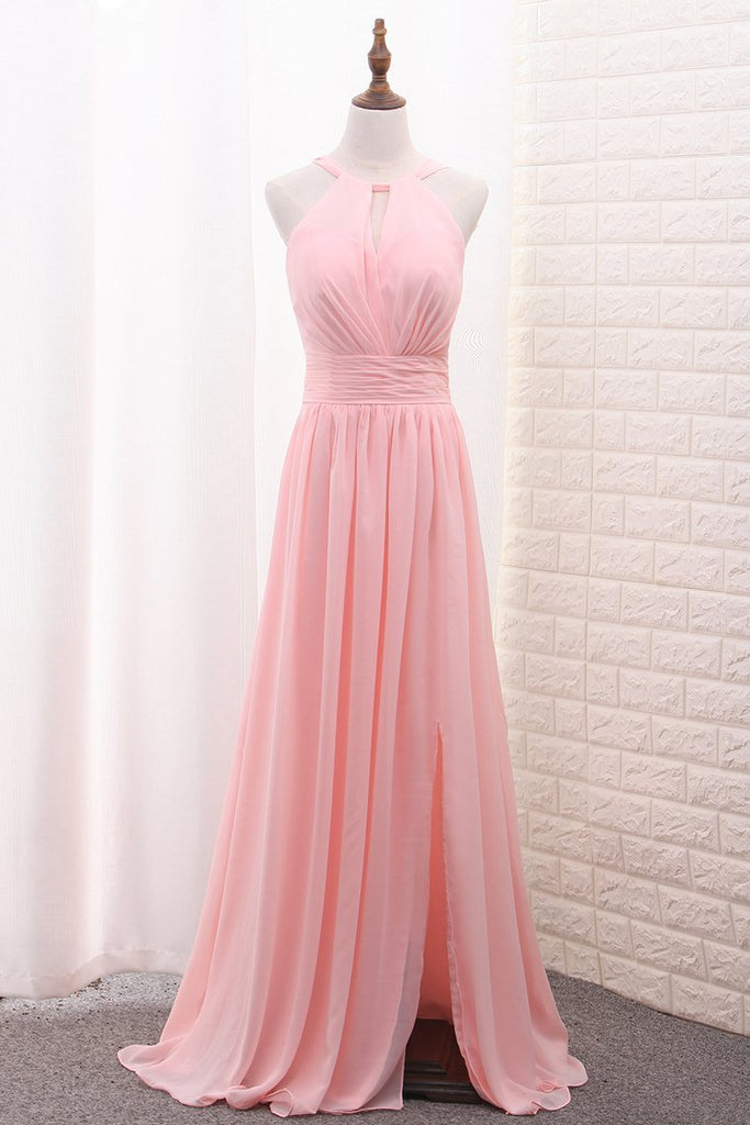 Scoop A Line Chiffon Bridesmaid Dresses With Ruffles And Slit Floor Length