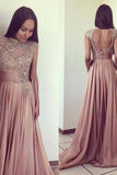 2019 Scoop Beads Long Cheap Open Back Chiffon Pink A-Line Sleeveless Prom Dresses JS777