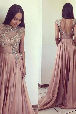 2021 Scoop Beads Long Cheap Open Back Chiffon Pink A-Line Sleeveless Prom Dresses JS777