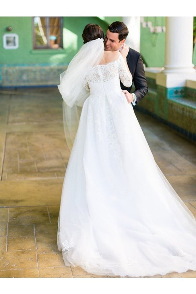 A-Line/Princess Tulle Lace Off-The-Shoulder Long Sleeves Sweep/Brush Train Wedding Dresses