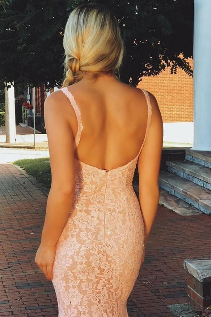 Prom Dresses Mermaid Lace Straps Sweep Train