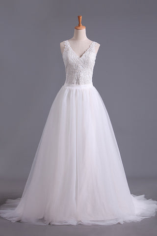 New Arrival Spaghetti Straps Wedding Dresses Sheath Lace & Tulle With Applique Court Train SSMPRX2EKZH