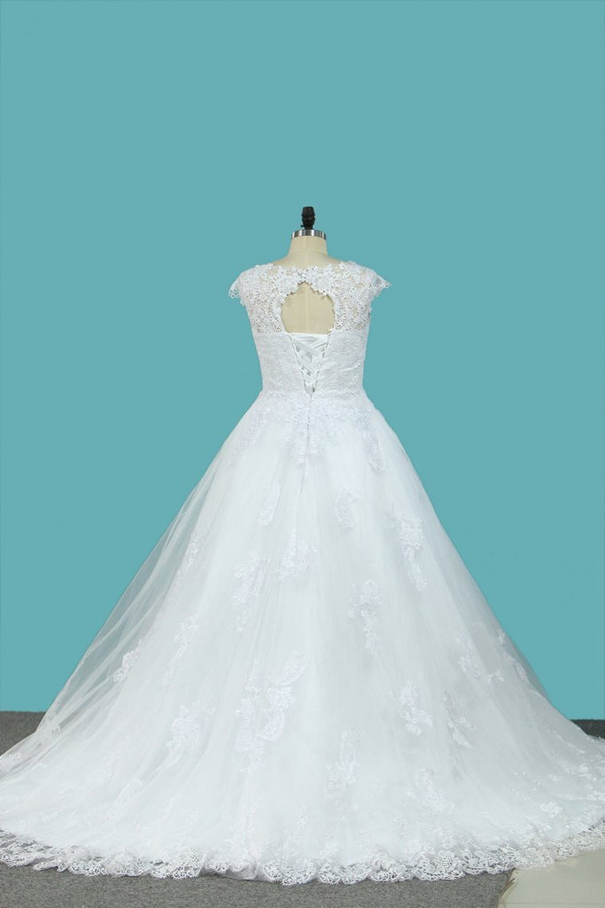 2021 A Line Straps Wedding Dresses Tulle With Applique Sweep Train