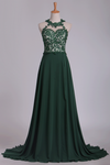 Scoop Chiffon With Applique And Beads Prom Dresses A Line Sweep Train