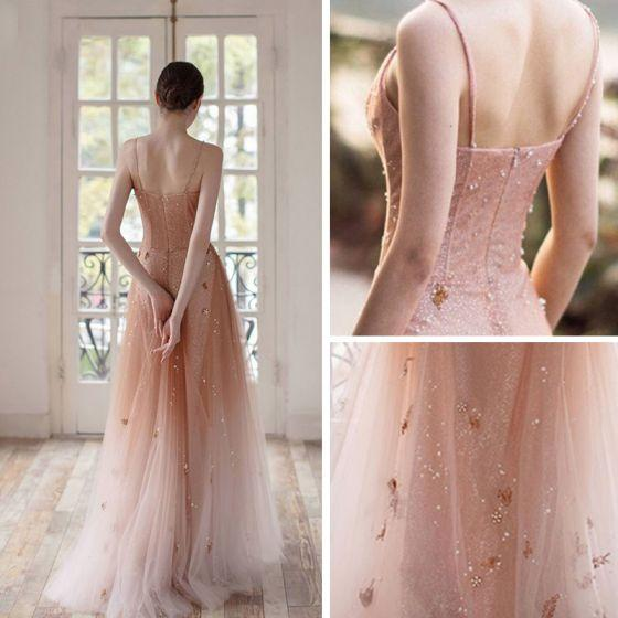 Open Back Spaghetti Straps Prom Dresses Ombre Tulle V Neck Pink Beauty Prom Gowns P1048