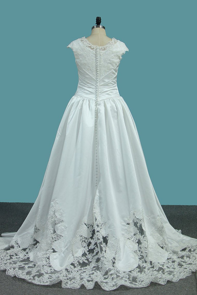 Scoop Cap Sleeve Wedding Dresses A Line Satin With Ruffles And Applique Sweep Train