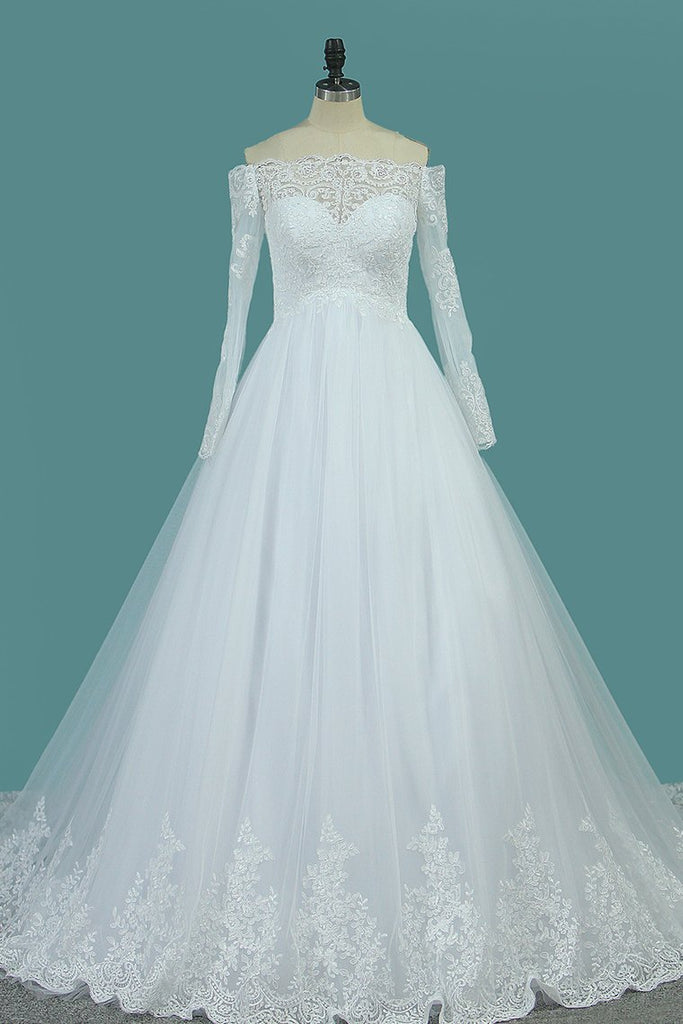 Boat Neck A Line Long Sleeves Wedding Dresses Tulle With Applique