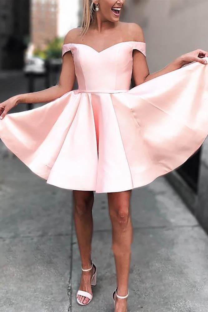 Cute A Line Off the Shoulder Open Back Sweetheart Pink Satin Short Homecoming Dresses JS03