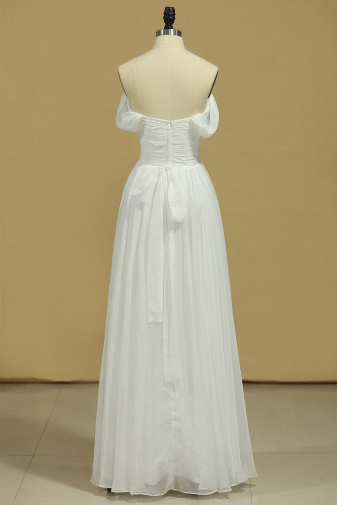 2019 White Prom Dresses Off The Shoulder A Line Chiffon Floor Length With Ruffles