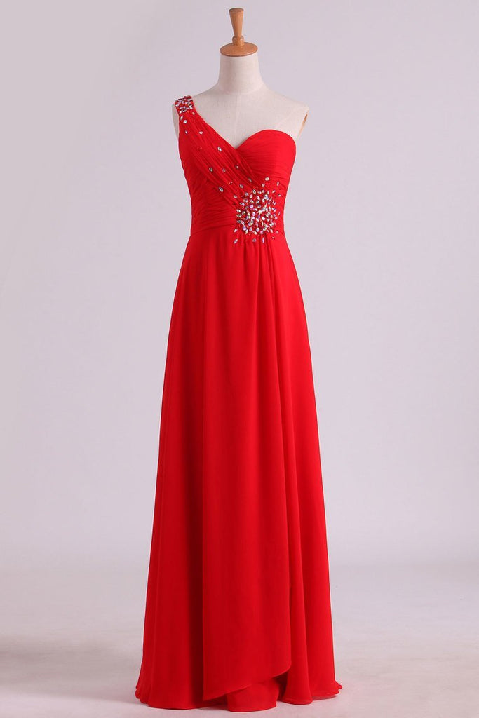2019 Red One Shoulder A Line Prom Dresses Chiffon Floor Length With Beading And Ruffles