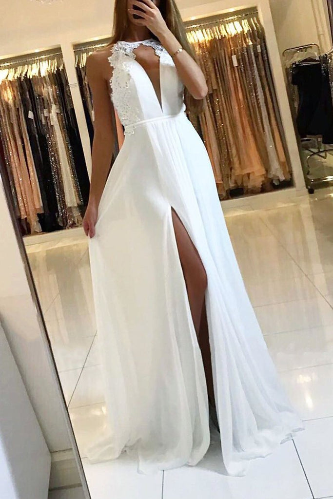 2021 Halter Chiffon Prom Dresses A Line With Applique Open Back