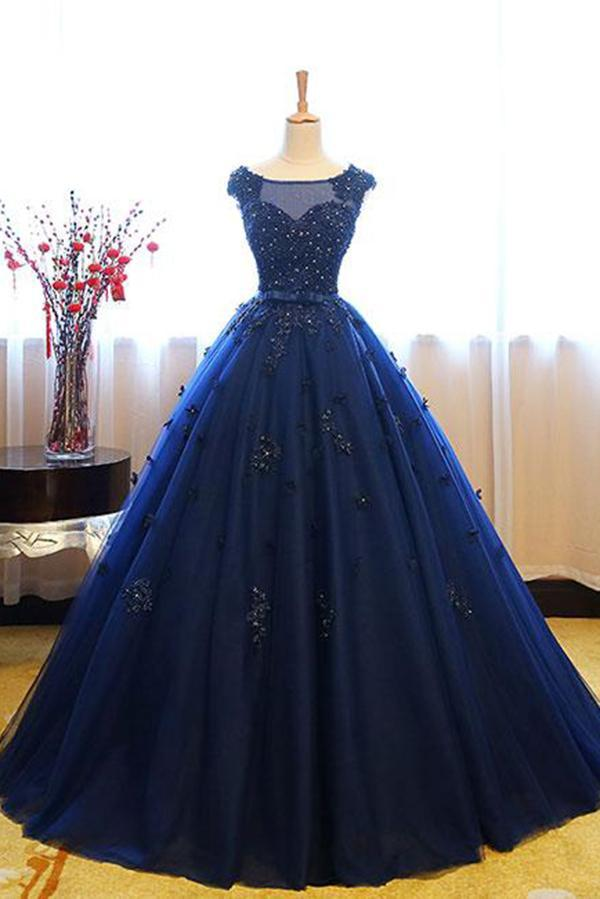 Dark Blue Tulle Lace Beads Ball Gown Open Back Sweet 16 Dress Quinceanera Dresses JS808