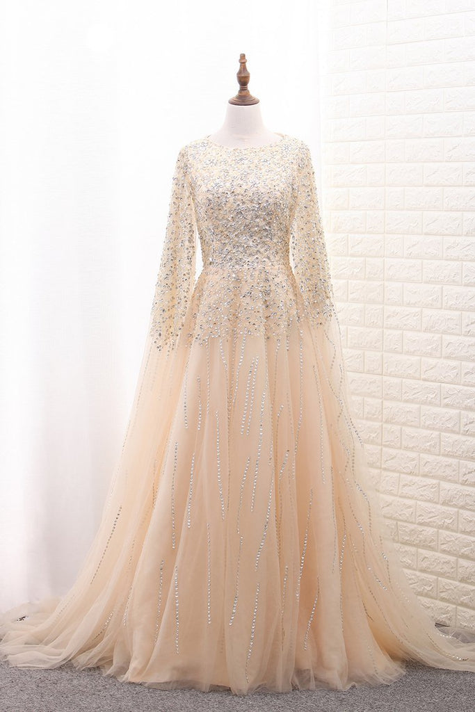 Shiny A Line Prom Dresses Scoop Tulle With Beading & Rhinestones Sweep Train