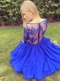 Charming A Line V Neck Long Sleeves Royal Blue Lace Short Homecoming Dresses SSM979