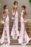 Stylish Mermaid Spaghetti Straps Satin Long Pink Bridesmaid Dresses with Lace Appliques JS267