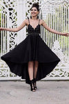 A Line Black V neck Short High Low Spaghetti Straps Prom Dresses Homecoming Dress JS692