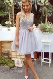 A-Line V-Neck Short Lilac Above Knee Tulle Appliques Homecoming Dress with Lace JS322