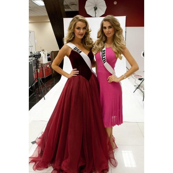 Charming V-Neck A-Line Organza Backless Strapless Noble Long Red Fashion Prom Dresses JS44