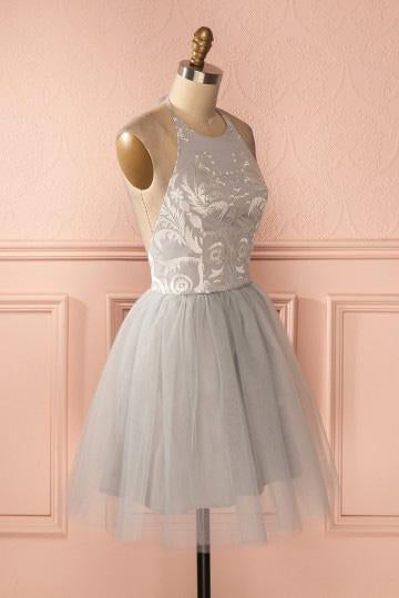 Cheap Sleeve Silver Halter Short A-line Princess Pleated Backless Homecoming Dresses SSM789