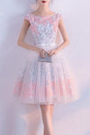 A line Short Appliques Tulle Lace Round neck Knee length Pink Homecoming Dress JS187