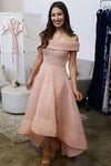 A-line Off-the-Shoulder Organza Ruffles Asymmetrical Backless High Low Prom Dresses JS808