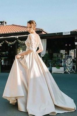 2021 Half Sleeves Lace Modest Long Custom Made Wedding Dresses JS89