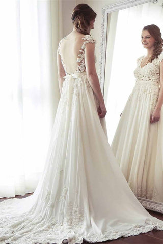 A-Line V-Neck Chiffon with Lace Appliqued Cap Sleeves Ivory Chapel Train Wedding Dresses JS883