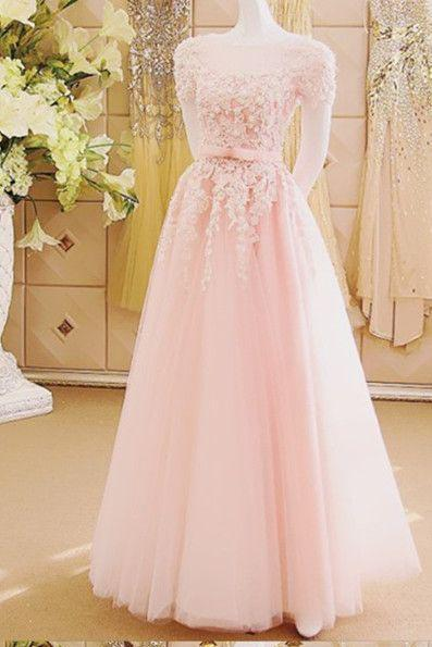 Charming A-Line Appliques Tulle Sexy Long Pink Floor-Length Prom Dresses JS289